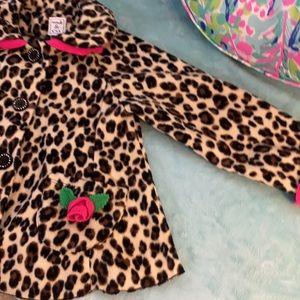 Mack & Co animal print coat with rosebuds